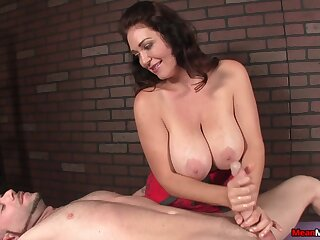 Big natural tits mature uses both of her hands to make him cum